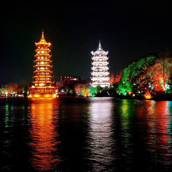 ciudad china noche templos